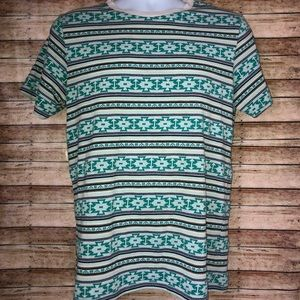 On The Byas Green White Aztec Short Sleeve Shirt M